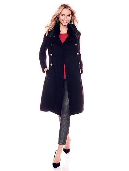 Faux-Fur Collar Wool Peacoat - New York & Company