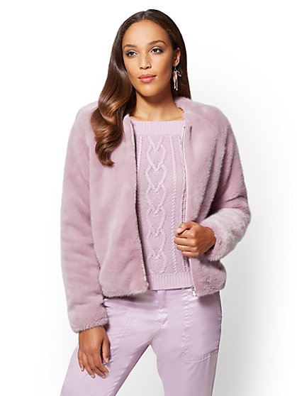 Faux-Fur Jacket - Lilac - New York & Company
