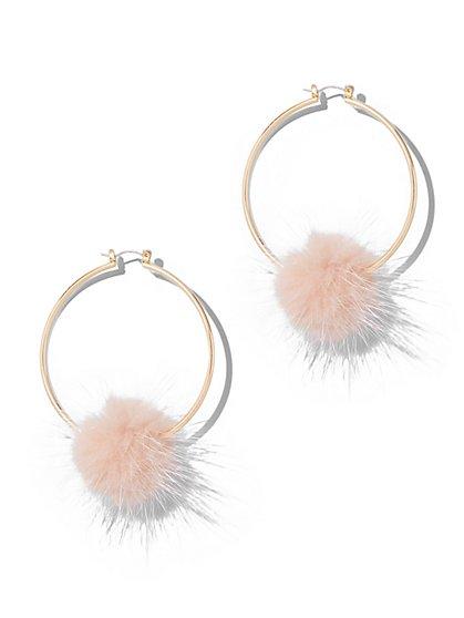 Faux-Fur Pom-Pom Hoop Earring - New York & Company