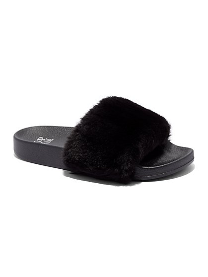 Faux-Fur Pool Slide Sandal - New York & Company