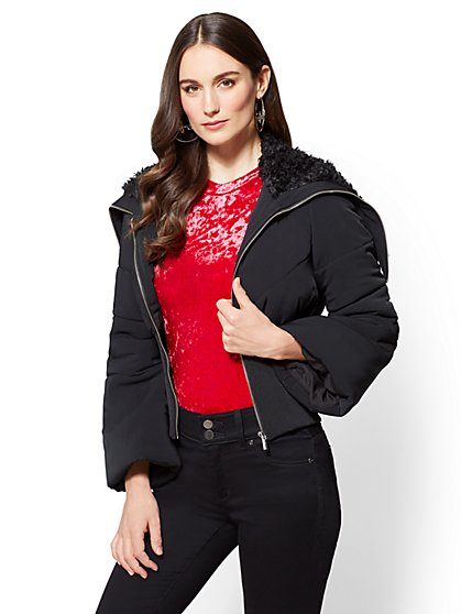 Faux-Fur Shawl Collar Puffer Jacket - New York & Company