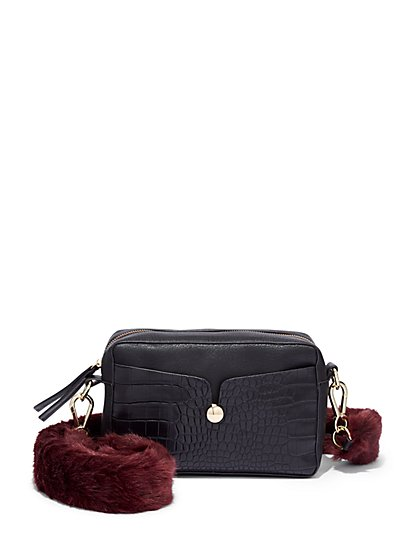 Faux-Fur Strap Camera Bag  - New York & Company