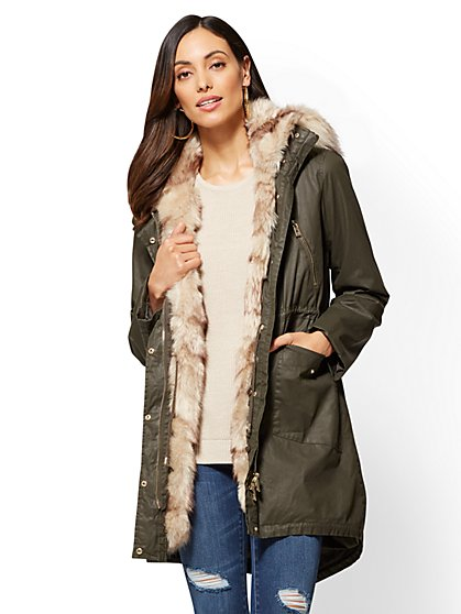Faux-Fur Trim Anorak Jacket - New York & Company
