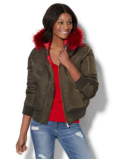Faux Fur-Trim Bomber Jacket - New York & Company