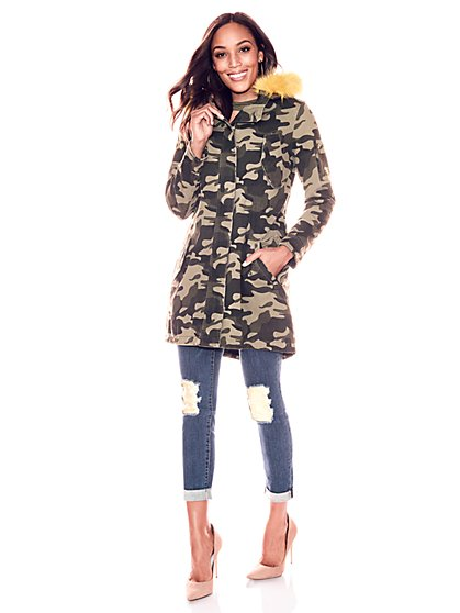 Faux-Fur Trim Parka Jacket - Camo Print - New York & Company