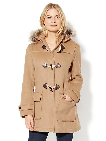 Faux-Fur Wool-Blend Toggle Coat - New York & Company