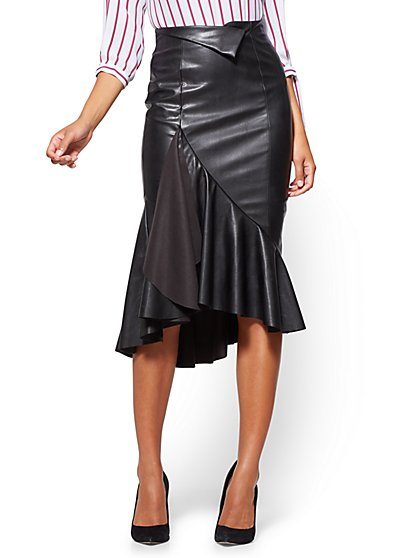 Faux-Leather Flounced Skirt  - New York & Company