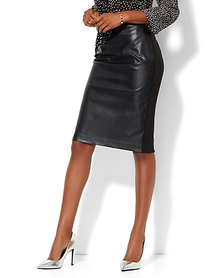 Faux-Leather Front Pencil Skirt - New York & Company