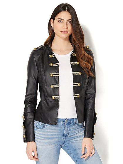 Faux-Leather Military Jacket - New York & Company