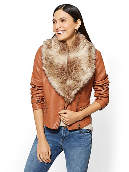 Faux-Leather Moto Jacket - Beige - New York & Company
