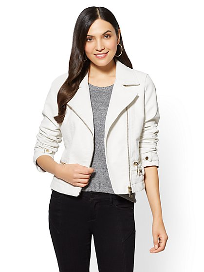 Faux-Leather Moto Jacket - White - New York & Company