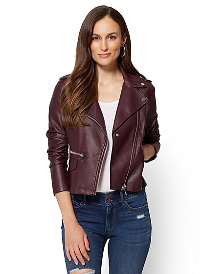 Faux Leather Moto Jacket - New York & Company