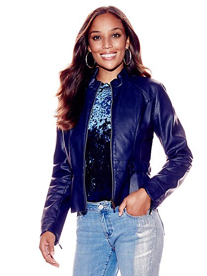Faux-Leather Peplum Jacket - New York & Company