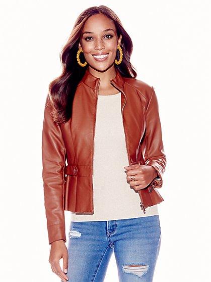 Faux-Leather Peplum Jacket - New York & Company