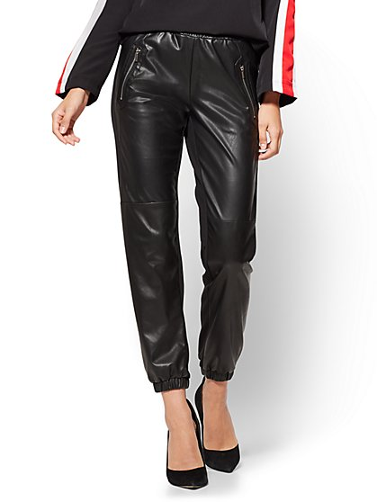 Faux-Leather & Ponte Jogger - Black  - New York & Company