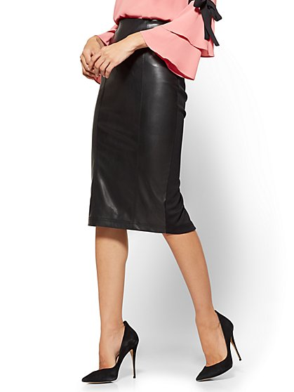 Faux-Leather & Ponte Pull-On Skirt  - New York & Company