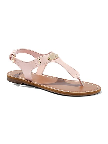 Faux-Leather T-Strap Sandal - New York & Company