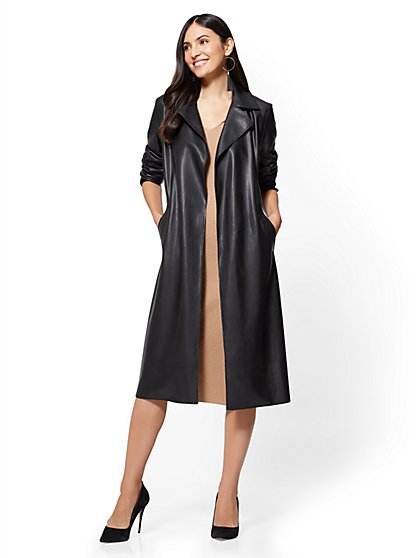 Faux-Leather Trench Coat - New York & Company