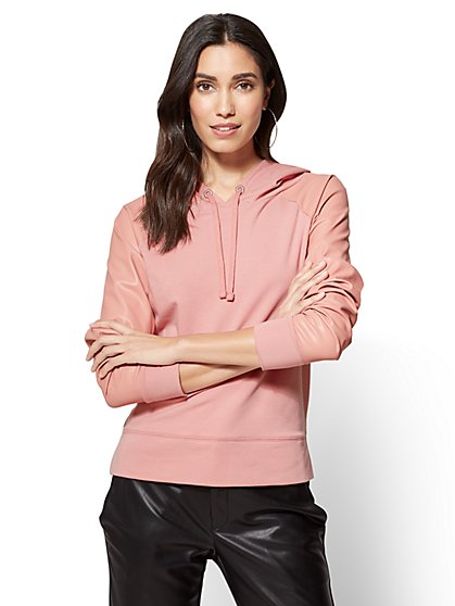 Faux-Leather Trim Hooded Sweatshirt  - New York & Company