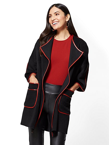 Faux-Leather Trim Kimono Coat - New York & Company