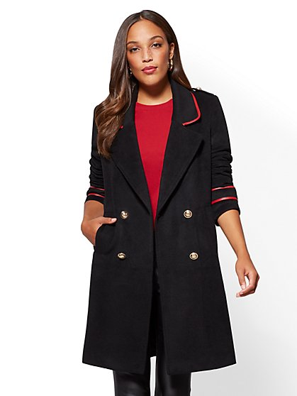 Faux-Leather Trim Military Coat - New York & Company