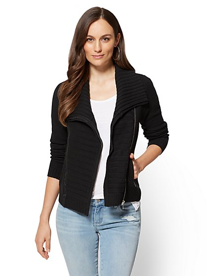 Faux-Leather Trim Moto Cardigan  - New York & Company
