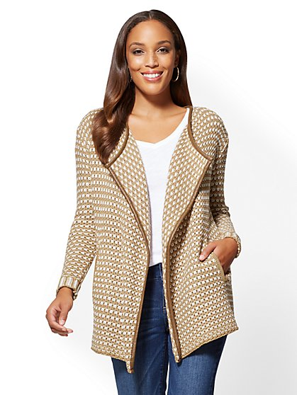 Faux Leather-Trim Open-Front Cardigan - New York & Company
