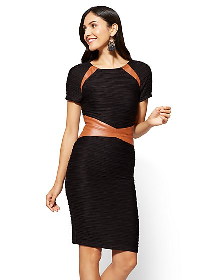 Faux-Leather Trim Sheath Dress - Black - New York & Company