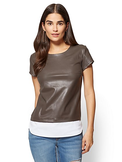 Faux-Leather Twofer Tee  - New York & Company