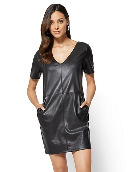 Faux-Leather V-Neck Shift Dress  - New York & Company