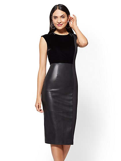 Faux-Leather & Velvet Sheath Dress - Black - New York & Company