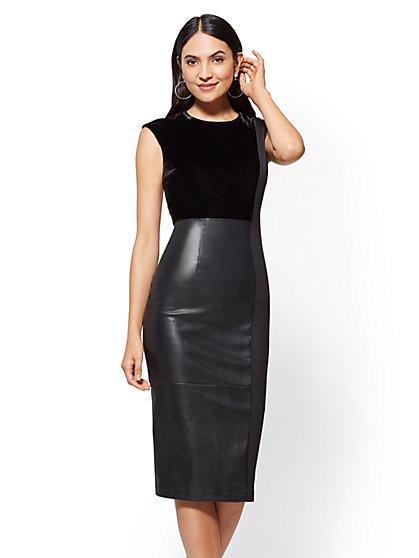 Faux-Leather & Velvet Sheath Dress - Black - New York & Company