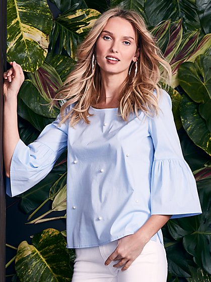 Faux-Pearl Accent Flutter-Sleeve Shirt - New York & Company
