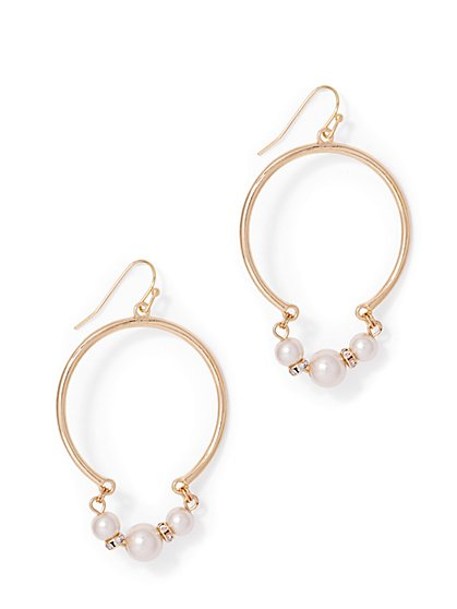 Faux-Pearl Accent Hoop Drop Earring  - New York & Company