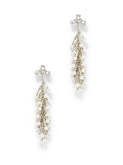 Faux-Pearl & Beaded Drop Earring  - New York & Company