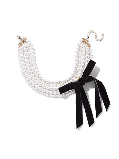 Faux-Pearl & Bow Accent Statement Necklace  - New York & Company