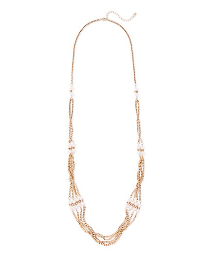 Faux-Pearl Chain Link Necklace  - New York & Company