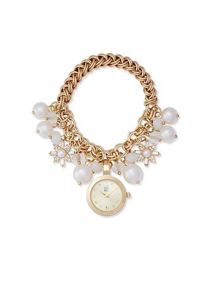 Faux-Pearl Charm Bracelet Watch - New York & Company