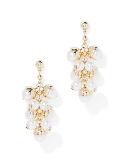 Faux-Pearl Cluster Drop Earring - New York & Company