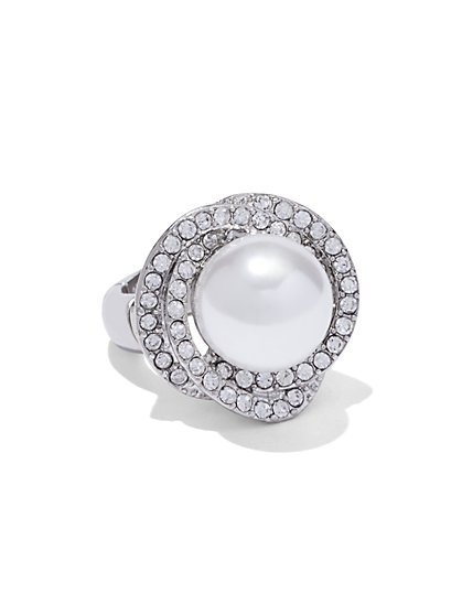 Faux-Pearl Cocktail Ring  - New York & Company