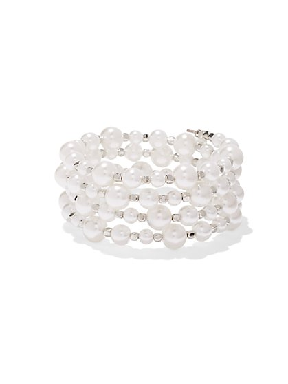 Faux-Pearl Coil Bracelet - New York & Company