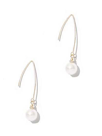 Faux-Pearl Drop Earring  - New York & Company
