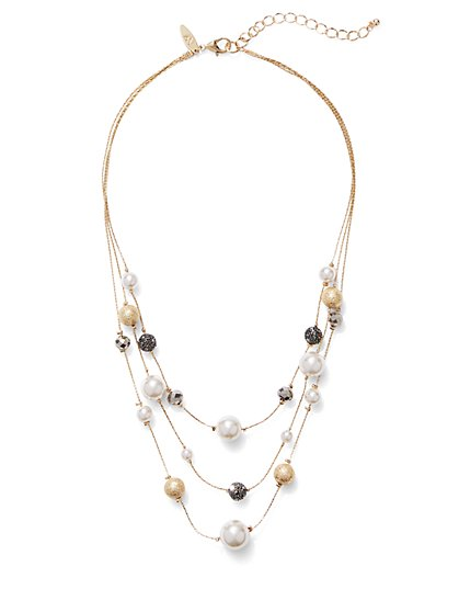 Faux-Pearl Goldtone Illusion Necklace  - New York & Company