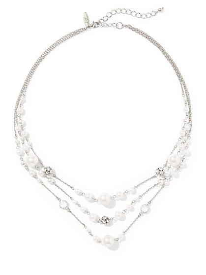 Faux-Pearl Illusion Necklace  - New York & Company