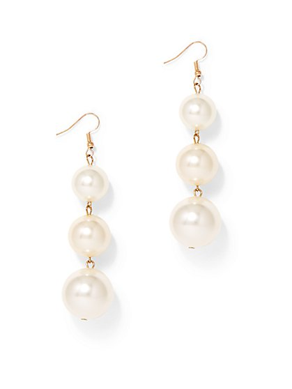 Faux-Pearl Linear Drop Earring  - New York & Company