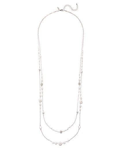 Faux-Pearl Long Illusion Necklace  - New York & Company