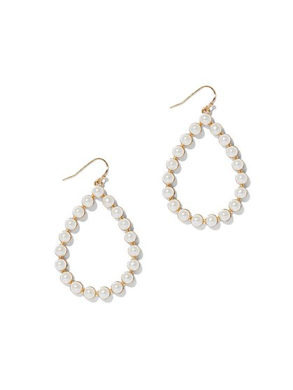 Faux-Pearl Open Teardrop Earring  - New York & Company