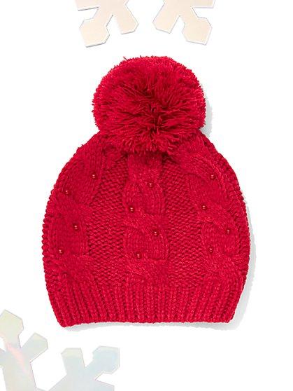 Faux-Pearl Pom-Pom Hat - New York & Company