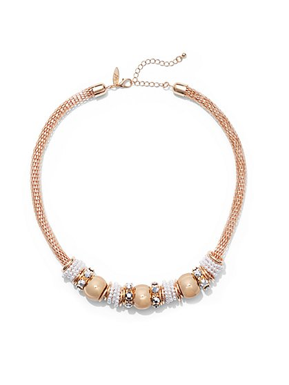 Faux-Pearl Rondelle Necklace - New York & Company