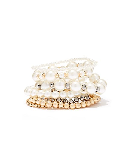 Faux-Pearl Stretch Bracelet  - New York & Company